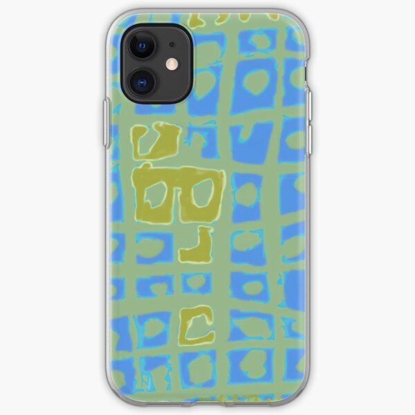Modern Blue and Green Square Print iPhone Soft Case