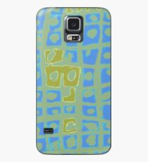 Modern Blue and Green Square Print Case/Skin for Samsung Galaxy