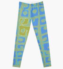 Modern Blue and Green Square Print Leggings