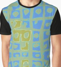 Modern Blue and Green Square Print Graphic T-Shirt