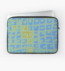 Modern Blue and Green Square Print Laptop Sleeve