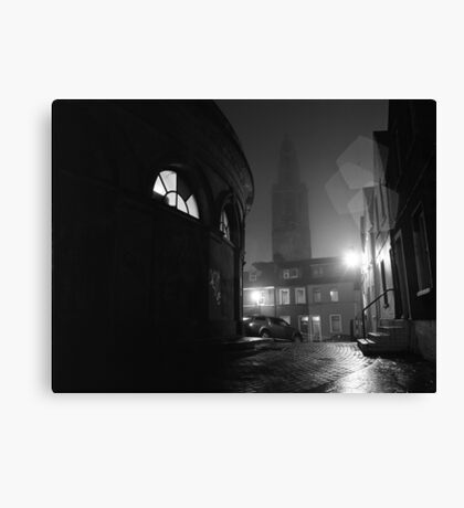 Shandon And The Firkin Crane In The Fog Canvas Print