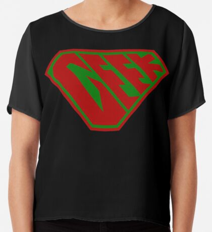 Geek SuperEmpowered (Red and Green) Chiffon Top