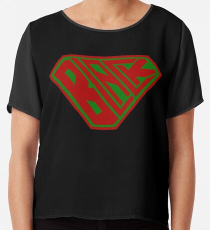 Black SuperEmpowered (Red and Green) Chiffon Top