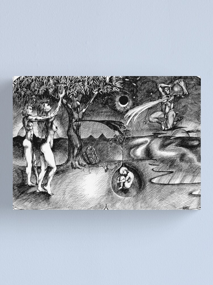 Alternate view of 1986 Adam and Eve Christmas Card Canvas Print