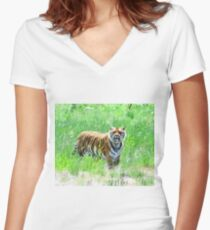 Bengal Tiger in Meadow Women's Fitted V-Neck T-Shirt