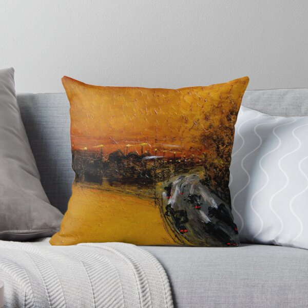 golden sky and freeway Throw Pillow