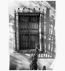 San Xavier Window and Shadows 2 BW Poster