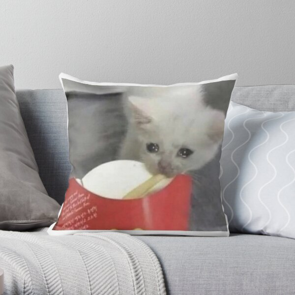 Sad Cat Eating French Fries Throw Pillow