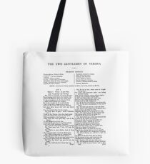 The Two Gentlemen of Verona William Shakespeare First Page Tote Bag