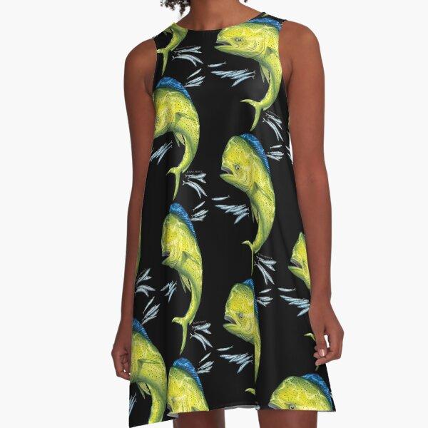 Mahi Mahi and baitfish A-Line Dress