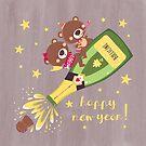 new year's eve teddy bear and sparkling wine by Angela Sbandelli