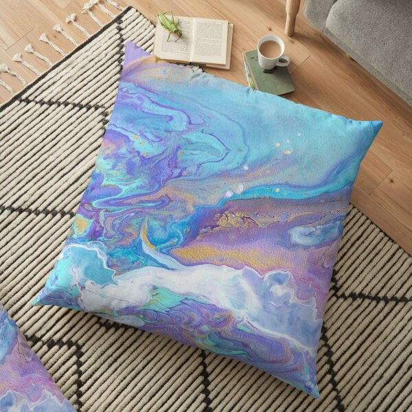Inky Blue Abstract Art Floor Pillow
