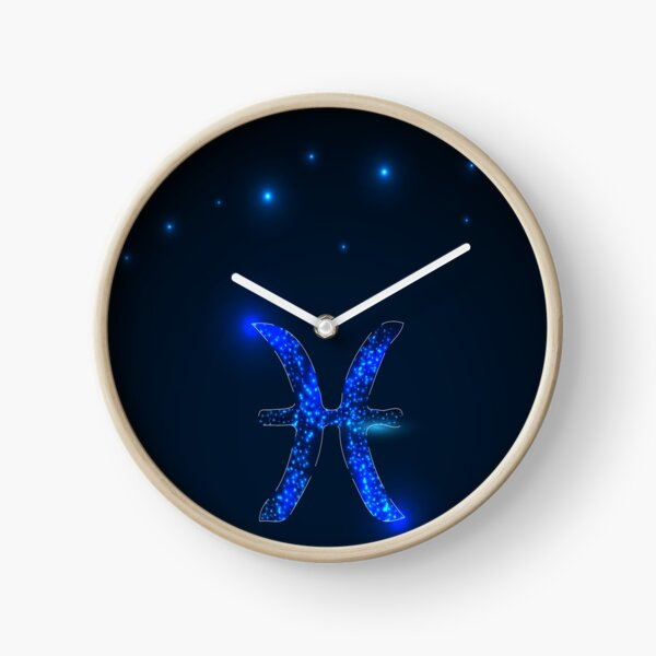 Pisces.Zodiac sign on the starry sky.  Clock