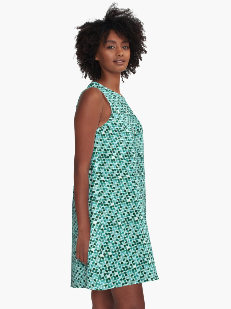 Alternate view of Blue tiles pattern A-Line Dress