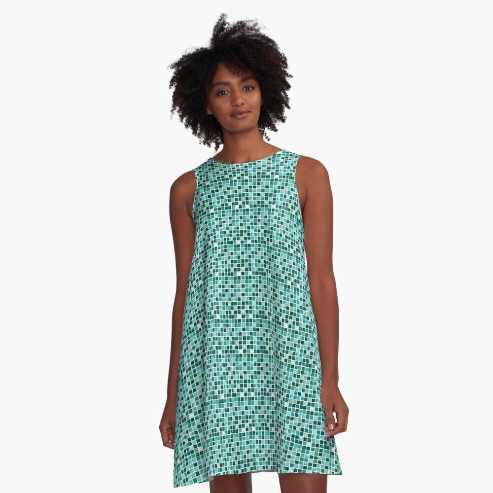 Blue tiles pattern A-Line Dress
