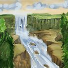 Waterfall and Trees by erreart