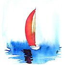 Red sail on a smooth sea by RavensLanding