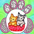 Watercolor Doodle Art | Cats! by coloringiship