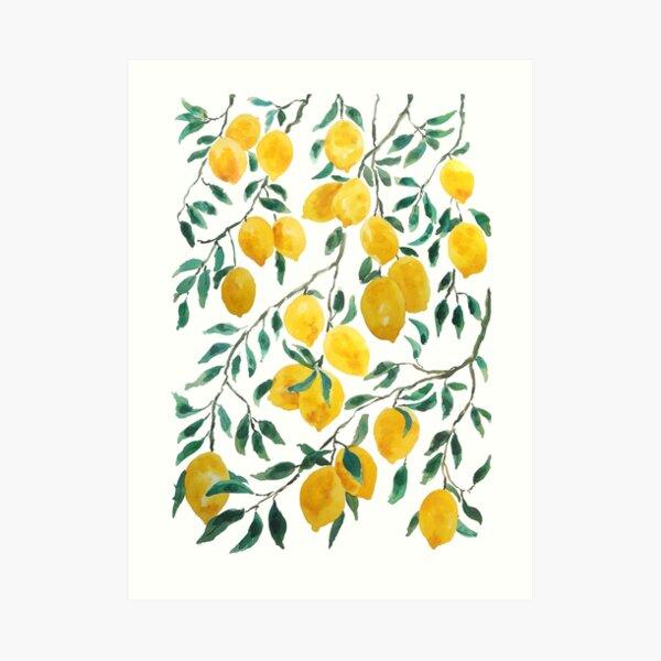 watercolor yellow lemon pattern  Art Print