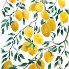 watercolor yellow lemon pattern  by ColorandColor