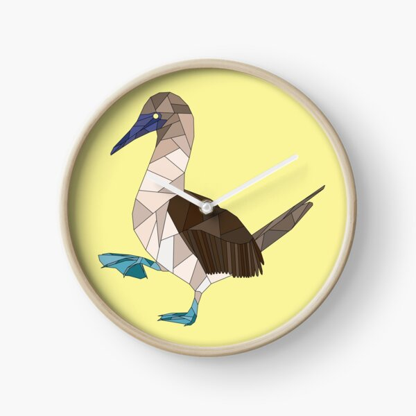 Geometric Blue Footed Booby Bird Clock