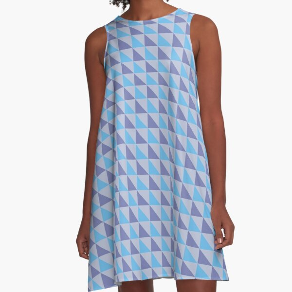 Blue Purple Triangles Geometric Pattern A-Line Dress