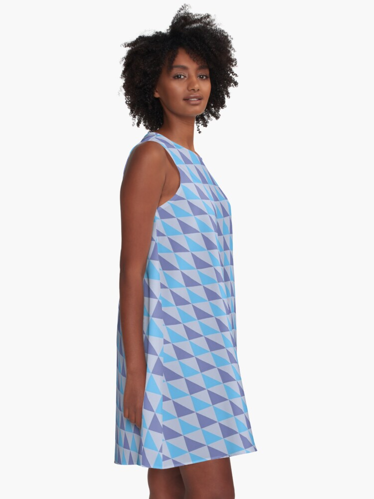 Alternate view of Blue Purple Triangles Geometric Pattern A-Line Dress