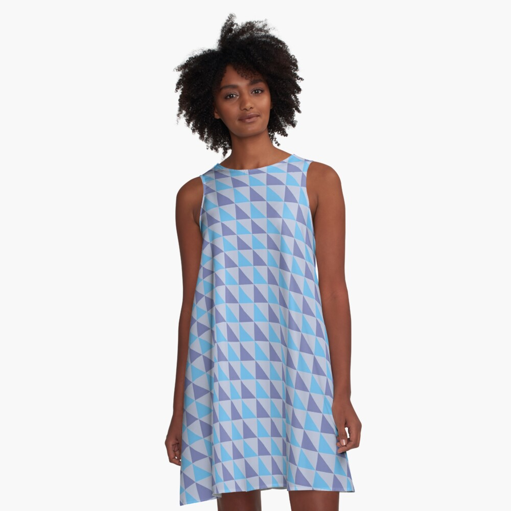 Blue Purple Triangles Geometric Pattern A-Line Dress