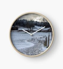 Bavarian Farm in Winter Clock