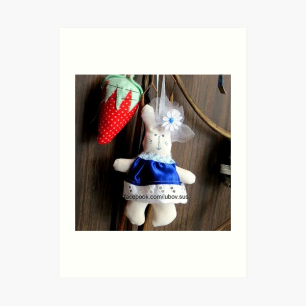 #stuffedtoy #plush #textile #doll #indoors #christmas #hanging #wood #decoration #toy #figurine #winter #souvenir #child #tradition #ret Art Print