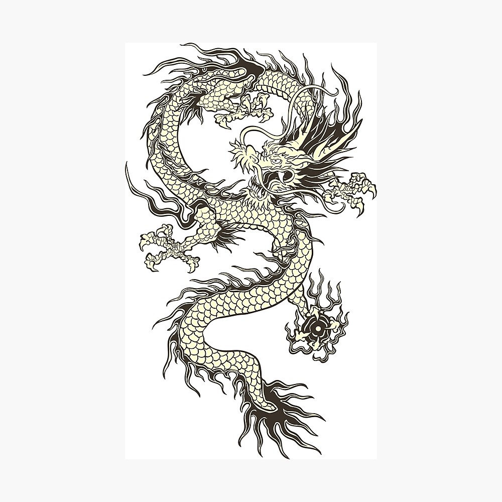Chinese Dragon Gold Metal Print By Divictu Redbubble