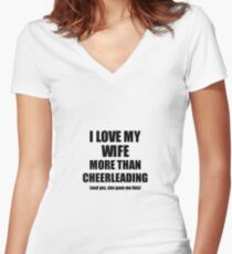 Cheerleading Husband Funny Valentine Gift Idea For My Hubby Lover From Wife Women's Fitted V-Neck T-Shirt