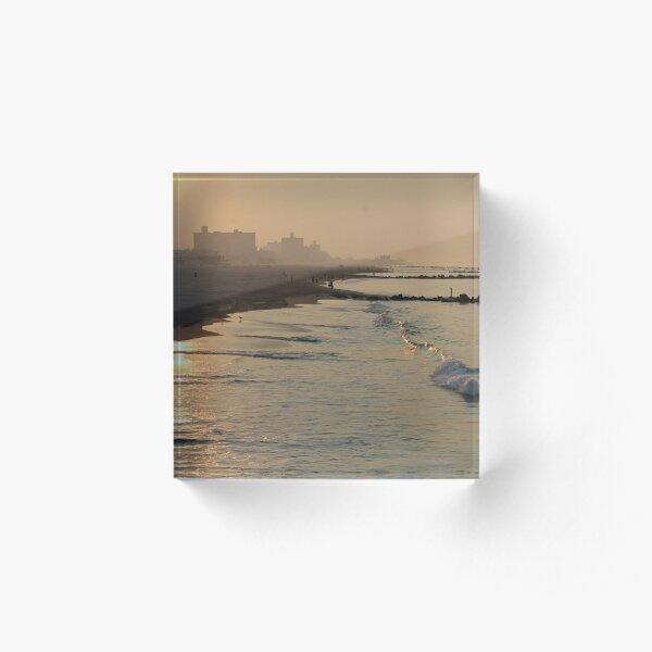 #water #beach #sunset #sea #landscape #reflection #dusk #sand #seascape #lake #horizontal #watersedge #nopeople #sunrisedawn #sun #sunny Acrylic Block