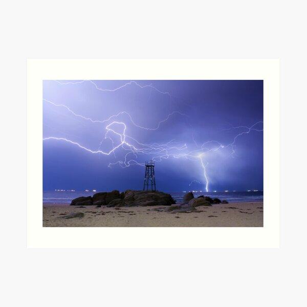 Lightning At Redhead Art Print