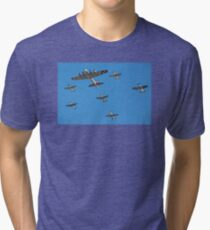 World War II Aircraft Flying in Formation Tri-blend T-Shirt