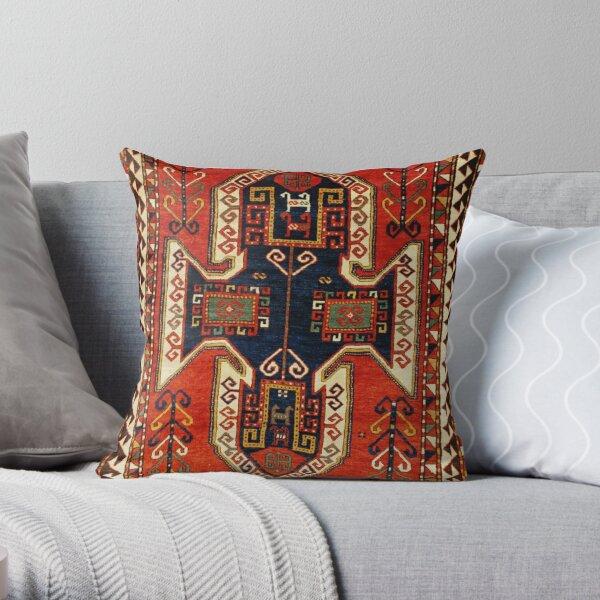 Kazak Antique Persian Rug Print Throw Pillow
