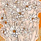 Daisy Chrysanthemum, blooming flowers white orange by clipsocallipso