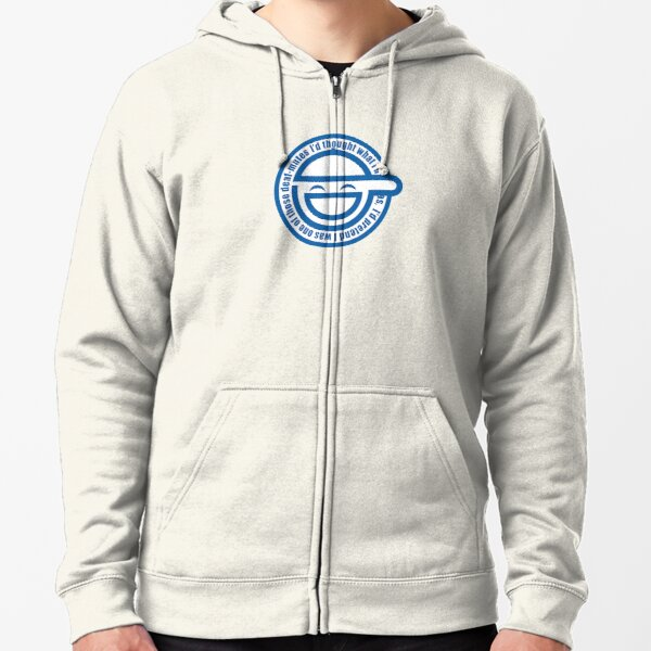 The Laughing Man Logo With Scan Lines Ghost In The Shell Stand Alone Complex Zipped Hoodie By Yacktown Redbubble