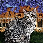 Kitty in the shade of the Jacaranda by printsisters