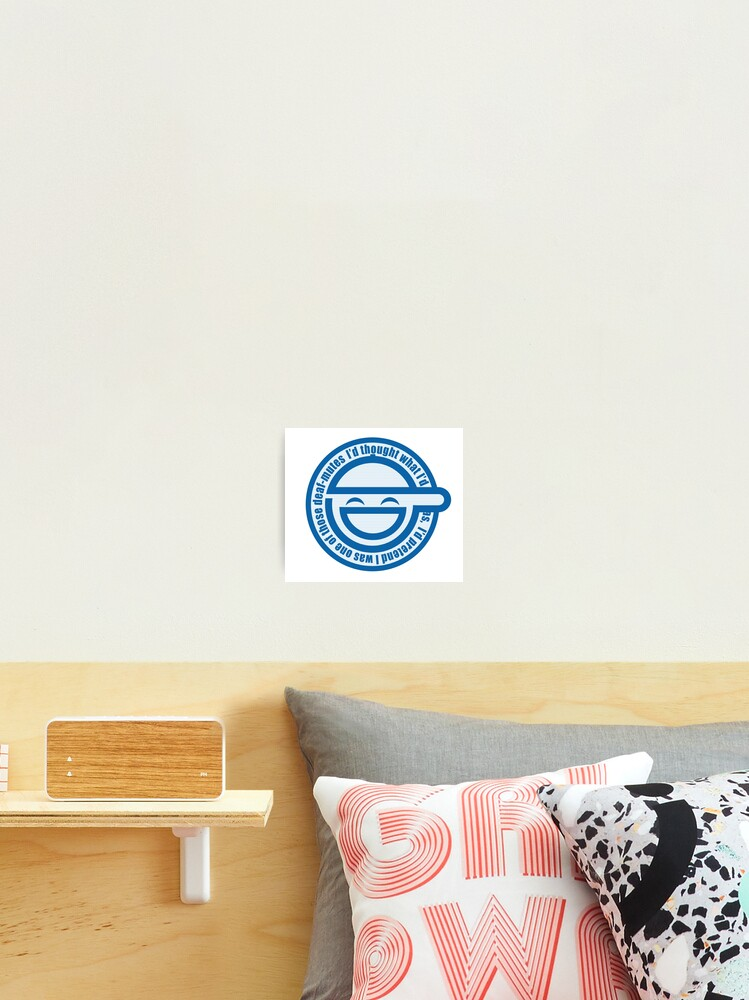 The Laughing Man Logo With Scan Lines Ghost In The Shell Stand Alone Complex Photographic Print By Yacktown Redbubble