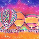 Five Glowing Hot Air Balloons In Pastel by KirtTisdale