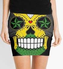Sugar Skull with Roses and Flag of Jamaica Mini Skirt