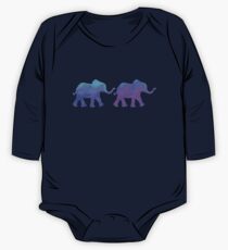 Follow The Leader - Painted Elephants in Purple, Royal Blue, & Mint One Piece - Long Sleeve