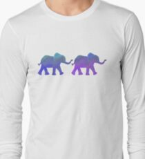 Follow The Leader - Painted Elephants in Purple, Royal Blue, & Mint T-Shirt