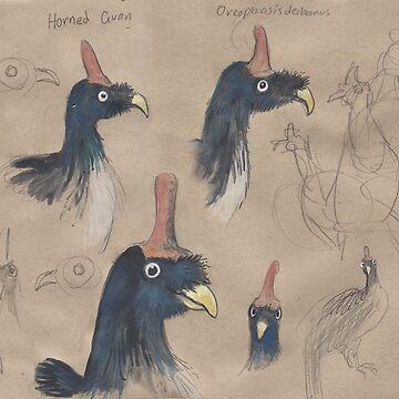 Horned Guan by SnakeArtist