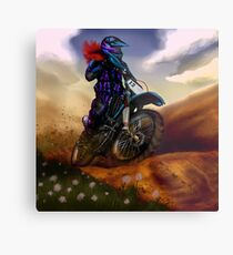 Lienzo metálico Diseño del cartel de la bici de la suciedad de la muchacha