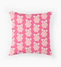 Cute Curious Cartoon Pigs Accessories by Cheerful Madness!! Throw Pillow