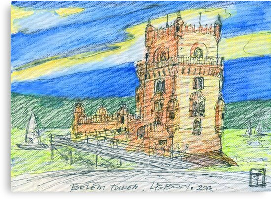 Belém Tower skecth on canvas by terezadelpilar ~ art & architecture