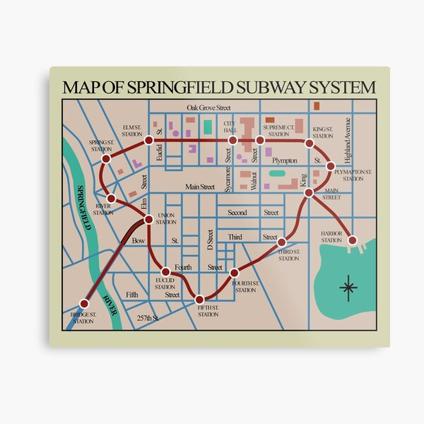 Springfield Subway System Map Metal Print